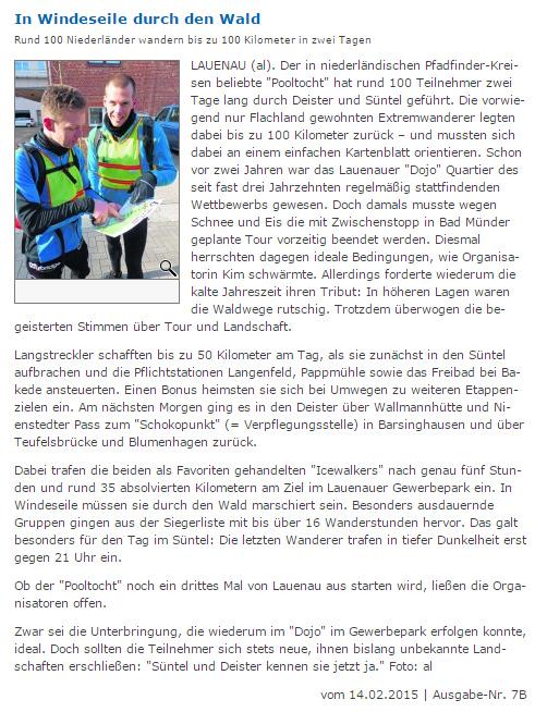Artikel Pooltocht Schaumburger Wochenblatt